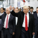 President Trump with Vice President Pence visiting a manufacturing plant