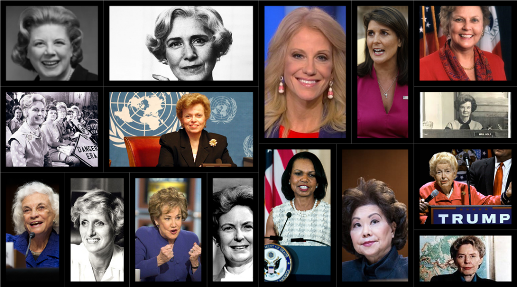 Collage of Republican women from Clare Boothe Luce to Nikki Haley