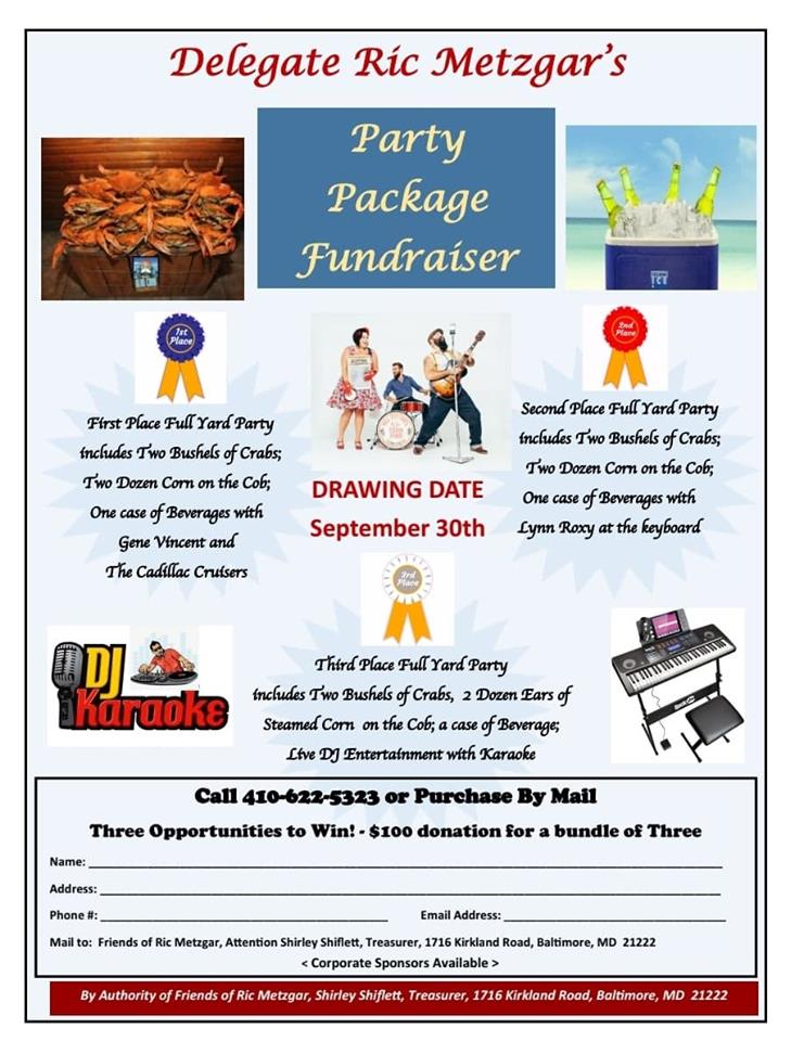 Delegate Ric Metzgar's Party Package Fundraiser