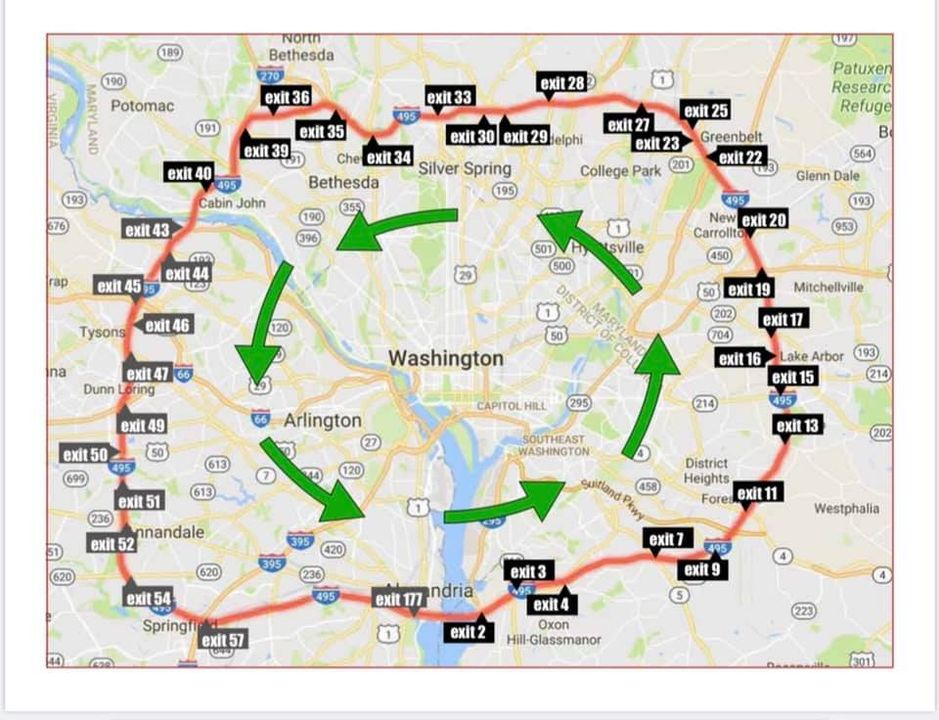 Please drive on the Outerloop (counter clockwise)and in the second lane from the right. Here are the meeting locations in Maryland and in Virginia.