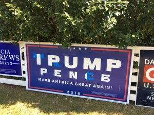Defaced Trump Pence 4 x 8 Yard Sign
