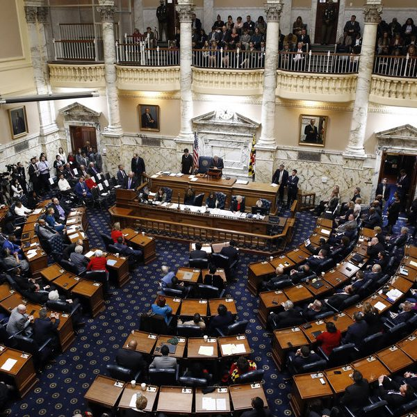 Members of the Maryland House of Delegates convene at the state house in Annapolis, Md., on the first day of the state's 2018 legislative session.